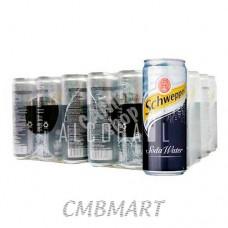 Schweppes Soda Water 1 box 24 can 330 ml