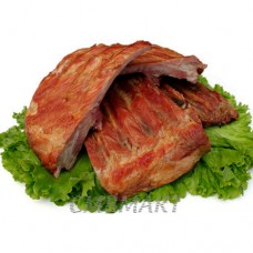 Smoked pork ribs. around 100g